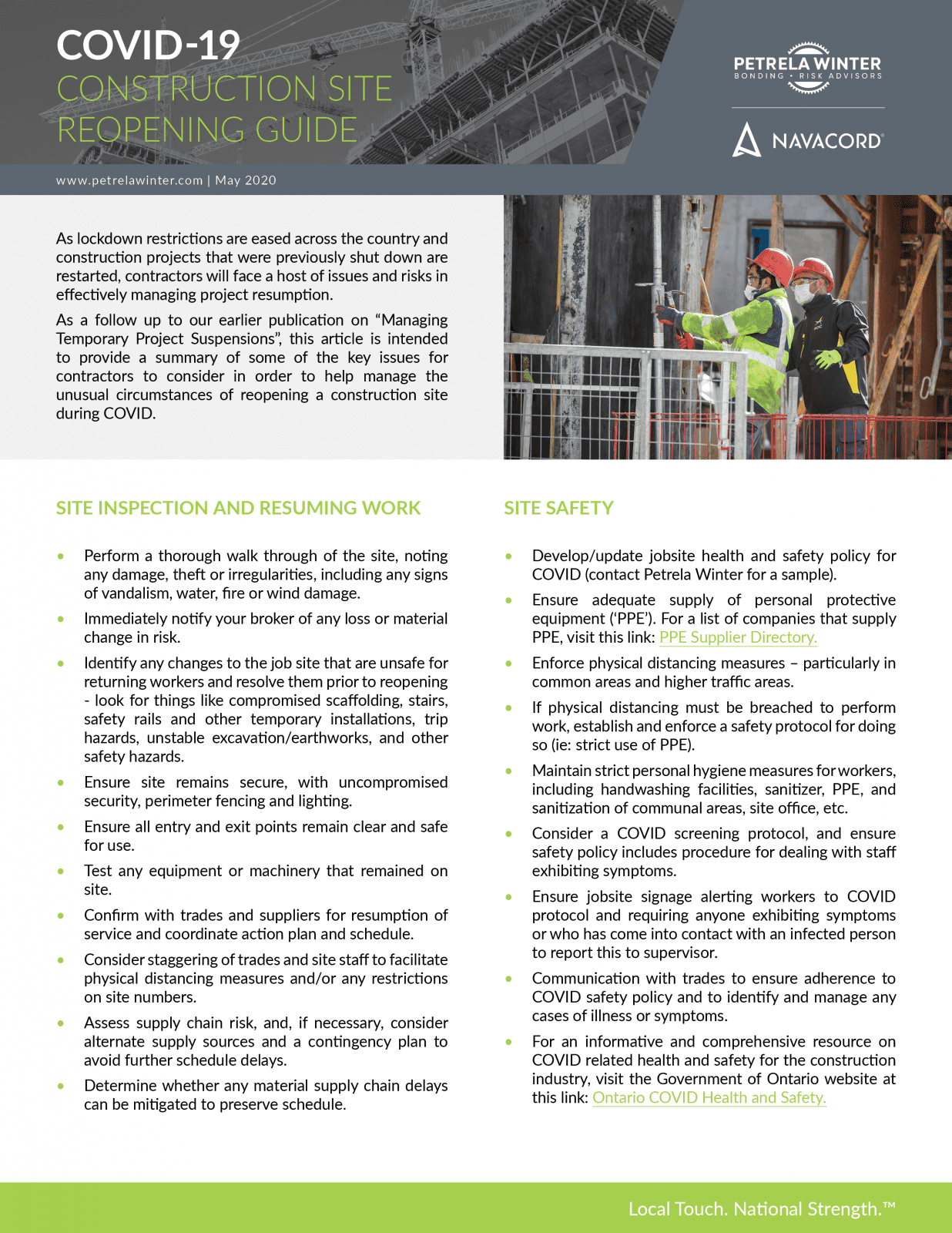 Construction Site Reopening Guide
