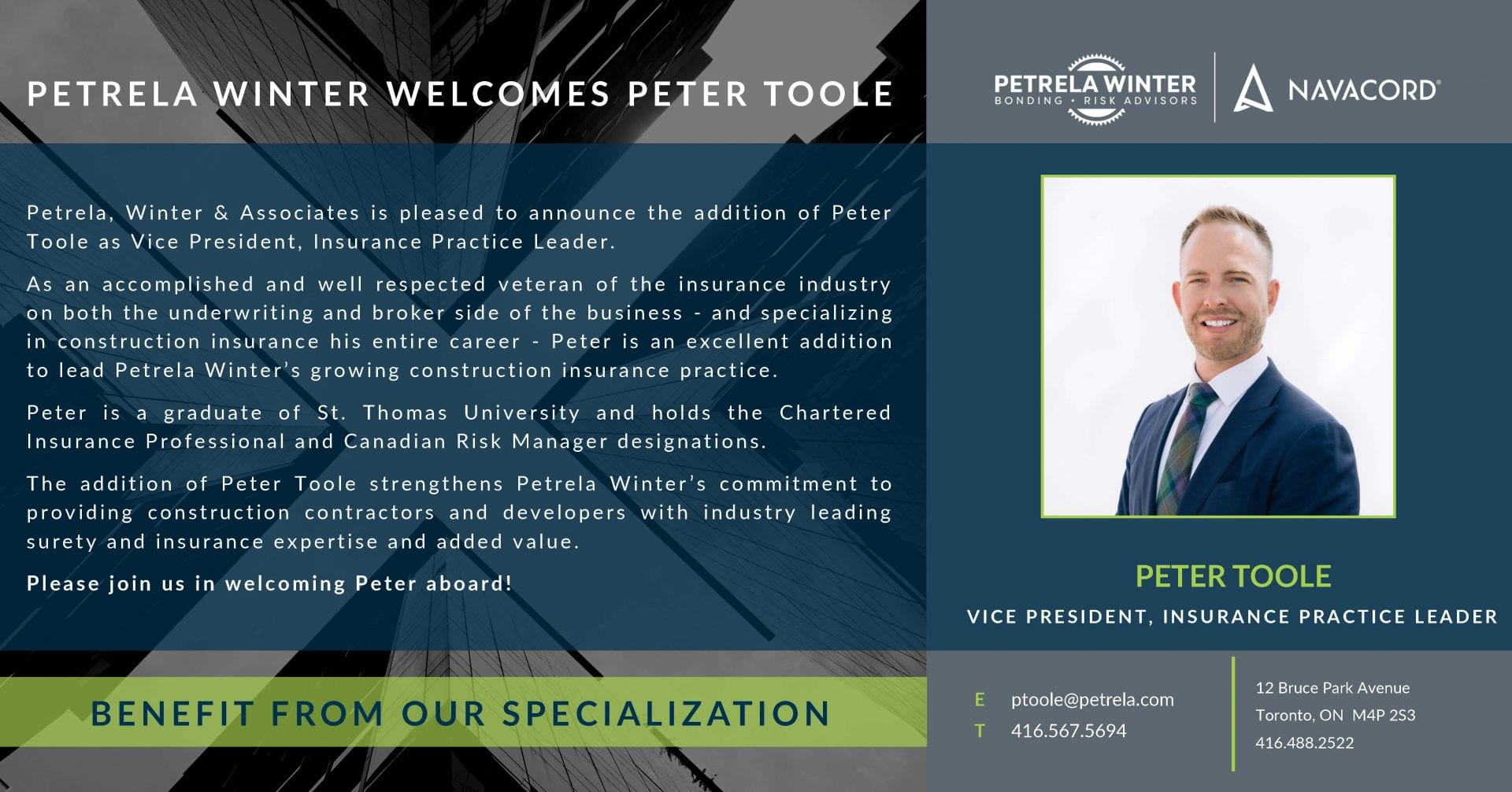 Peter Toole Appointment